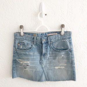 AG The Box Distressed Denim Mini Skirt Jean Skirt